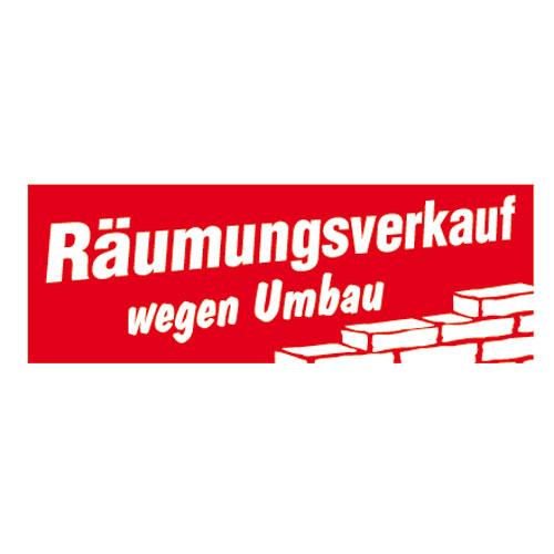 Aufkleber 'Räumungsverkauf Umbau'