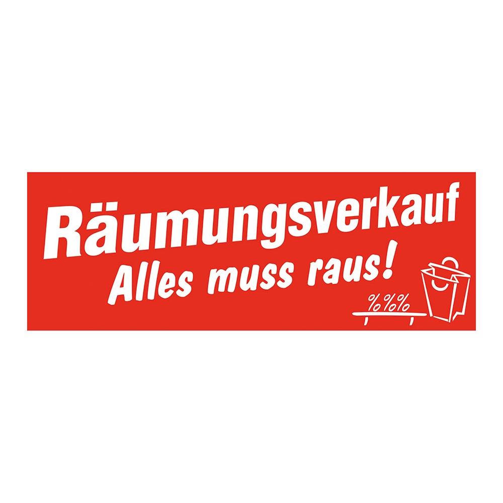 """Aufkleber Räumungsverkauf-Alles muss raus!"""""""